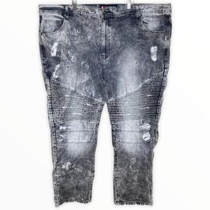 Southpole Distressed Ripped Moto Biker Gray Jeans